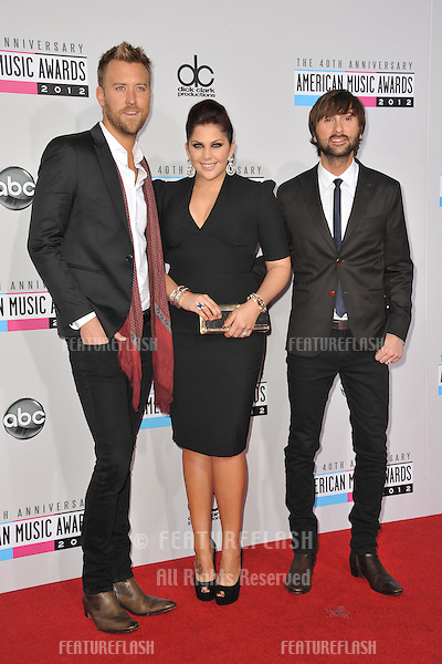 Lady Antebellum stars Charles Kelley, Hillary Scott & Dave Haywood at the 40th Anniversary American Music Awards at the Nokia Theatre LA Live..November 18, 2012  Los Angeles, CA.Picture: Paul Smith / Featureflash