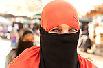Portrait of Berber Woman at Djemaa el-Fna, main square, Marrakesh, Morocco,