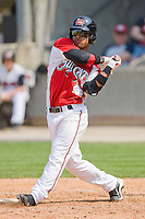 Dave Sappelt #6 of the Carolina Mudcats follows through on his swing against the Jacksonville Suns at Five County Stadium May 16, 2010, in Zebulon, North Carolina.  Photo by Brian Westerholt /  Seam Images