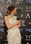 Natalia de Molina holds the award after winning the best revelation actress at the Goya Film Awards photocall in Madrid on February 9, 2014. Photo by Nacho Lopez/ DyD FOTOGRAFOS-DYDPPA