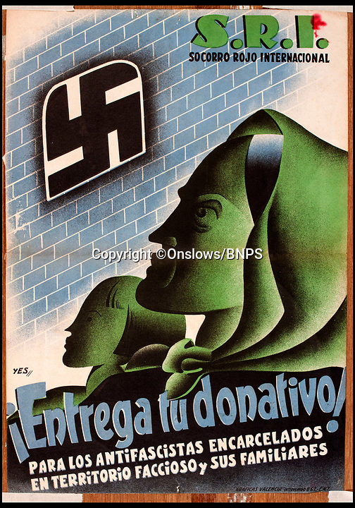 """BNPS.co.uk (01202 558833)<br /> Pic: Onslows/BNPS<br /> <br /> Anti Fascist poster with the swastika prominent asking for donations for imprisoned activists.<br /> <br /> As Spain teeters on the brink of another civil war over the Catalonian independence crisis, a rare collection of posters from the Spanish Civil War of the 1930's have emerged for sale 80 years after the country was last in turmoil.<br /> <br /> The seven posters, which are expected to fetch more than £10,000 at auction, were all made by anti-fascist artists supporting the democratic Republican cause after a group of army generals led by Franco staged a military coup and tried to take control in 1936.<br /> <br /> In a country with a high rate of illiteracy, much of the propaganda produced in the first few years of the war used rousing images to deliver their message to the masses.<br /> <br /> Hitler and Mussolini both sent thousands of troops and weapons to help the right-wing Nationalists and many of the Republican posters slammed the """"foreign fascist hordes"""" and the pictures showed swastika-covered enemies.<br /> <br /> The posters will be sold by Onslows Auctioneers in Stourpaine, Dorset on December 15."""