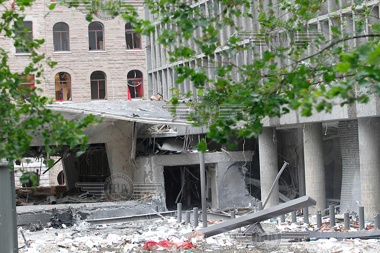 (July22,2010) A large vehicle bomb was detonated near the offices of Norwegian Prime Minister Jens Stoltenberg on 22 July 2011. Although Stoltenberg was reportedly unharmed the blast resulted in several injuries and deaths. <br /> Another terrorist attack took place shortly afterwards, where a man killed over 80 children and youths attending a political camp at Ut&oslash;ya island. <br /> Anders Behring Breivik was arrested on the island and has admitted to carrying out both attacks.<br /> (photo:Fredrik Naumann/Felix Features)