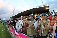 Fans watch the cup final between Fiji and South Africa on day two of the 2018 HSBC World Sevens Series Hamilton at FMG Stadium in Hamilton, New Zealand on Sunday, 4 February 2018. Photo: Shane Wenzlick / lintottphoto.co.nz