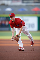 Clearwater Threshers second baseman Luke Williams (9) flips to first base during a game against the Jupiter Hammerheads on April 9, 2018 at Spectrum Field in Clearwater, Florida.  Jupiter defeated Clearwater 9-4.  (Mike Janes/Four Seam Images)