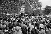 Preacher and crowd, Speakers' Corner, Hyde Park, London.