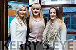 Pictured at the Kerry ETB Certificate Ceremony at the Rose Hotel Tralee, on Thursday, April 6th last were l-r: Lucia Murphy, Alannah O'Sullivan and Aisling O'Brien, all who graduated in Hairdressing.