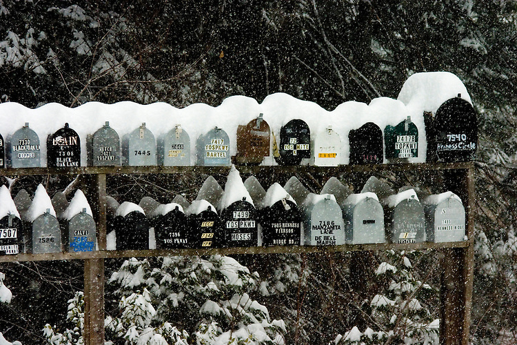 Mailboxes during a snowstorm, Yosemite National Park, CA