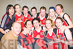 St Mary's players and mentors celebrate Maura Conroy defeating Liffey Celtic on Saturday