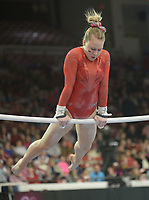 NWA Democrat-Gazette/ANDY SHUPE<br />Arkansas' Sydney Laird competes Friday, Jan. 12, 2018, in the bars portion of the 11th-ranked Razorbacks' meet with sixth-ranked Kentucky in Barnhill Arena in Fayetteville. Visit nwadg.com/photos to see more photographs from the meet.