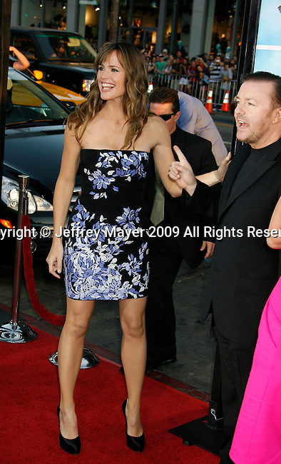 "HOLLYWOOD, CA. - September 21: Jennifer Garner and Ricky Gervais arrive at the Los Angeles premiere of ""The Invention of Lying"" at the Grauman's Chinese Theatr on September 21, 2009 in Hollywood, California."