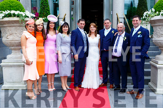 Danny Healy Rae and his family celebrate at the wedding of his son Dan and Linda Browne at the Great Southern Hotel on Saturday