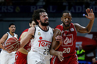 20 ASON ROBINSON Guards of CAI Zaragoza . 23 Sergio Llull Point guard of Real Madrid Baloncesto.2014 November 30 Madrid Spain. ACB LIGA ENDESA 14/15, 9º Match, match played between Real Madrid Baloncesto vs CAI Zaragoza at Palacio de los deportes stadium.