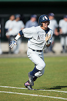 Stephen Kerr (6) of the Florida Atlantic Owls hustles down the first base line against the Charlotte 49ers at Hayes Stadium on March 14, 2015 in Charlotte, North Carolina.  The Owls defeated the 49ers 8-3 in game one of a double header.  (Brian Westerholt/Four Seam Images)