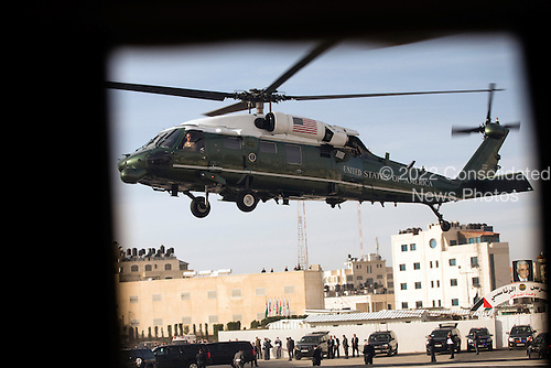 United States President Barack Obama departs aboard Marine One from a landing zone in Ramallah, the West Bank, March 21, 2013..Mandatory Credit: Pete Souza - White House via CNP