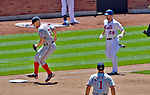 25 July 2012: Washington Nationals starting pitcher Stephen Strasburg gets an unassisted out at first against Daniel Murphy of the New York Mets at Citi Field in Flushing, NY. The Nationals defeated the Mets 5-2 to sweep their 3-game series. Mandatory Credit: Ed Wolfstein Photo