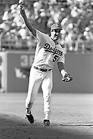 Mike Marshall of the Los Angeles Dodgers during a 1989 season game at Dodger  Stadium in Los Angeles,California.(Larry Goren/Four Seam Images)