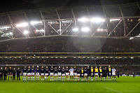 The Bath Rugby team lines-up prior to kick off. Heineken Champions Cup match, between Leinster Rugby and Bath Rugby on December 15, 2018 at the Aviva Stadium in Dublin, Republic of Ireland. Photo by: Patrick Khachfe / Onside Images