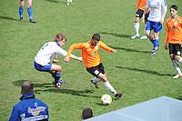 "VOETBAL: BALK: Voetbalcomplex ""de Wilgen"", 27-04-2013, KNVB 1ste Klasse E district Noord, VV Balk -VV Drachtster Boys, Einduitslag 1-2, Ivar Klijnsma (#2 | Balk), Said Hassan (#6 | DB), ©foto Martin de Jong"