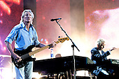 Pink Floyd - bassist Roger Waters - performing live for the first time in 20 years with Rick Wright and his former bandmates in concert at the Live 8 concert in Hyde Park, London UK - 02 July 2005.  Photo credit: George Chin/IconicPix