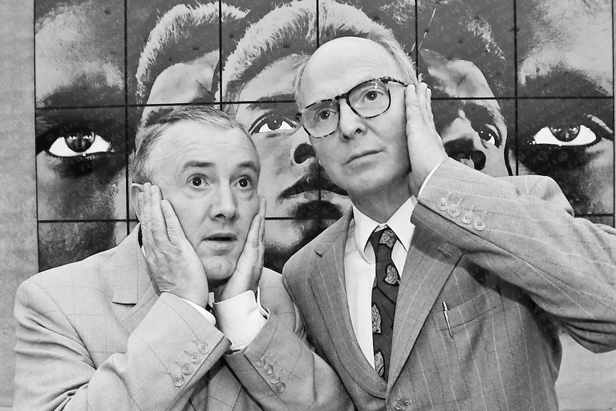 Gilbert and George are two artists who work together as a collaborative duo. Gilbert Proesch and George Passmore have become famous for their distinctive, highly formal appearance and manner and their brightly coloured graphic-style photo-based artworks.