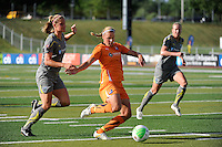 Laura Kalmari (21) of Sky Blue FC shoots and scores. The Philadelphia Independence defeated Sky Blue FC 2-1 during a Women's Professional Soccer (WPS) match at John A. Farrell Stadium in West Chester, PA, on June 6, 2010.