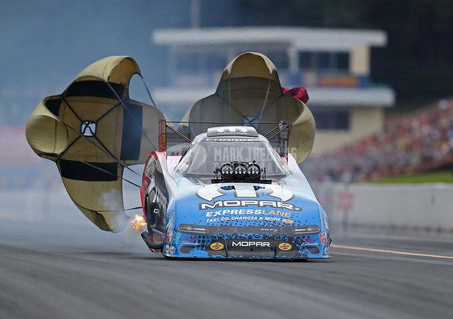 Sep 14, 2018; Mohnton, PA, USA; NHRA funny car driver Matt Hagan during qualifying for the Dodge Nationals at Maple Grove Raceway. Mandatory Credit: Mark J. Rebilas-USA TODAY Sports