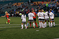 Rochester, NY - Friday April 29, 2016: Western New York Flash defender Abigail Dahlkemper (13) takes a free kick. The Washington Spirit defeated the Western New York Flash 3-0 during a National Women's Soccer League (NWSL) match at Sahlen's Stadium.
