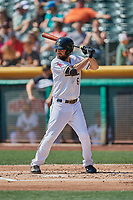 Dustin Ackley (6) of the Salt Lake Bees bats against the Fresno Grizzlies at Smith's Ballpark on September 4, 2017 in Salt Lake City, Utah. Fresno defeated Salt Lake 9-7. (Stephen Smith/Four Seam Images)