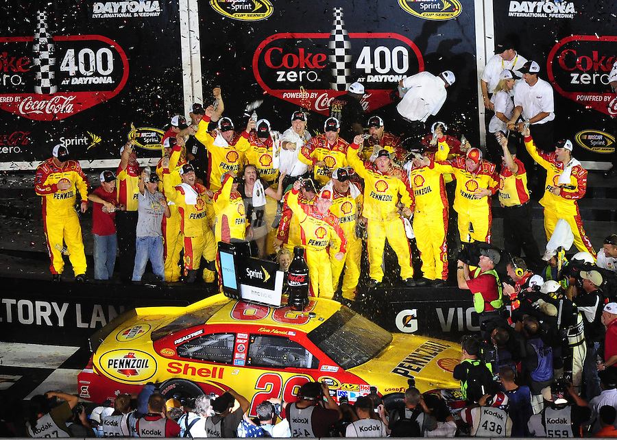 Jul. 3, 2010; Daytona Beach, FL, USA; NASCAR Sprint Cup Series driver Kevin Harvick (29) celebrates in victory lane after winning the Coke Zero 400 at Daytona International Speedway. Mandatory Credit: Mark J. Rebilas-