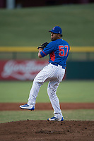 AZL Cubs relief pitcher Fernando Calderon (57) delivers a pitch during an Arizona League game against the AZL Brewers at Sloan Park on June 29, 2018 in Mesa, Arizona. The AZL Cubs 1 defeated the AZL Brewers 7-1. (Zachary Lucy/Four Seam Images)