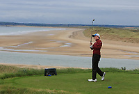 James O'Callaghan (Ballybunion) on the 16th tee during the Munster Final of the AIG Junior Cup at Tralee Golf Club, Tralee, Co Kerry. 13/08/2017<br /> Picture: Golffile | Thos Caffrey<br /> <br /> <br /> All photo usage must carry mandatory copyright credit     (&copy; Golffile | Thos Caffrey)