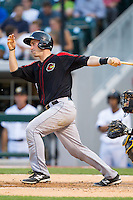Eric Fryer (25) of the Rochester Red Wings follows through on his swing against the Charlotte Knights at BB&T Ballpark on June 5, 2014 in Charlotte, North Carolina.  The Knights defeated the Red Wings 7-6.  (Brian Westerholt/Four Seam Images)