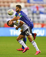Wigan Athletic's Sam Morsy battles with Fulham's Bobby Reid<br /> <br /> Photographer Dave Howarth/CameraSport<br /> <br /> The EFL Sky Bet Championship - Wigan Athletic v Fulham - Wednesday July 22nd 2020 - DW Stadium - Wigan<br /> <br /> World Copyright © 2020 CameraSport. All rights reserved. 43 Linden Ave. Countesthorpe. Leicester. England. LE8 5PG - Tel: +44 (0) 116 277 4147 - admin@camerasport.com - www.camerasport.com
