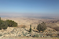 View from Mount Nebo, 804m, where Moses first saw the Holy Land before he died, Jordan. The mountain lies at the northern end of the Dead Sea and offers views of the Jordan Valley and the Holy Land - Jerusalem, Jericho and Bethlehem can be seen on a clear day. Picture by Manuel Cohen