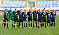 20180305 - LARNACA , CYPRUS : Welsh team pictured with Laura O'Sullivan (1) , Loren Dykes (2) , Sophie Ingle (4) , Alice Griffiths (6) , Natasha Harding (7) , Angharad James (8) , Kayleigh Green (9) , Jessica Fishlock (10) , Rachel Rowe (13) ,  Charlotte Estcourt  (17) and Elise Hughes (23) during a women's soccer game between Switzerland and Wales , on monday 5 March 2018 at GSZ Stadium in Larnaca , Cyprus . This is the third game in group A for Switzerland and Wales during the Cyprus Womens Cup , a prestigious women soccer tournament as a preparation on the World Cup 2019 qualification duels. PHOTO SPORTPIX.BE   DAVID CATRY