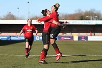 Lauren James (R) of Manchester United Women celebrates her goal in the second half during Brighton & Hove Albion Women vs Manchester United Women, SSE Women's FA Cup Football at Broadfield Stadium on 3rd February 2019