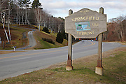 Welcome to Springfield sign on Route 11  during the autumn months....located in Springfield, Vermont USA which is part of scenic New England..