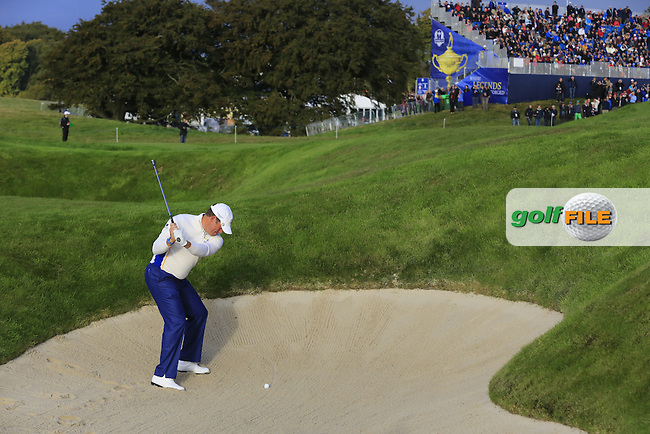 Lee Westwood (EUR) plays his 2nd shot from a fairway bunker on the 3rd hole during Saturday Morning's Fourball Matches between Europe's Lee Westwood and Jamie Donaldson and USA's Hunter Mahan and Jim Furyk of the Ryder Cup 2014 played on the PGA Centenary Course at the Gleneagles Hotel, Auchterarder, Scotland.: Picture Eoin Clarke, www.golffile.ie: 27th September 2014