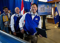 06 July 2016:  UBC at the 2016 Rio Olympic  and Paralympic Games press conference.  UBC President Designate Professor Santa Ono hosted a sendoff for UBC athletes, coaches and support staff headed to the 2016 Rio de Janeiro Olympic and Paralympic Summer Games. UBC&rsquo;s Rio 2016 contingent is the largest of any Canadian university.  Twenty-nine current and former UBC student athletes are part of Team Canada&rsquo;s roster while another 17 members of the UBC community will be in Brazil as coaches, management, support staff, and medical and paramedical personnel for Team Canada and the Canadian Olympic Committee. Together, those 17 individuals have more than 175 years of Olympic and Paralympic experience.  Ono was joined by Olympic swimmer Martha McCabe, UBC Interim President and Vice Chancellor David Farrar, Canadian Olympic Committee president and UBC alum Tricia Smith, Vice President of Students Louise Cowin and Senior Athletics Director Gilles Lepine.<br /> <br /> UBC participants attending the event:<br /> Byron Green (Athlete) &ndash; Wheelchair Rugby<br /> Travis Murao (Athlete) &ndash; Wheelchair Rugby<br /> Yuri Kisil (Athlete) &ndash; Swimming<br /> Martha McCabe (Athlete) &ndash; Swimming<br /> Emily Overholt (Athlete) &ndash; Swimming<br /> Erika Seltenreich-Hodgson (Athlete) &ndash; Swimming<br /> Markus Thormeyer (Athlete) &ndash; Swimming<br /> David Carter (Athlete) &ndash; Men&rsquo;s Field Hockey<br /> Taylor Curran (Athlete) &ndash; Men&rsquo;s Field Hockey<br /> Gordon Johnston (Athlete) &ndash; Men&rsquo;s Field Hockey<br /> Ben Martin (Athlete) &ndash; Men&rsquo;s Field Hockey<br /> Mark Pearson (Athlete) &ndash; Men&rsquo;s Field Hockey<br /> Keegan Pereira (Athlete) &ndash; Men&rsquo;s Field Hockey<br /> Matt Sarmento (Athlete) &ndash; Men&rsquo;s Field Hockey<br /> Scott Tupper (Athlete) &ndash; Men&rsquo;s Field Hockey<br /> Tom Johnson (Coach/Support Staff) &ndash; Swimming<br /> Steve Price (Coach/Support Staff) &ndash; Swimming<br /> Andrea Wooles (Coach/Support Staff) &ndash; Cycling<br /> Navin Presad (Core Medical) &ndash; Canadian Olympic Committee<br /> Tricia Smith &ndash; President, Canadian Olympic Committee.<br /> <br /> Location: Doug Mitchell Arena, University of British Columbia, Vanco