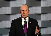 Former Mayor of New York City Michael Bloomberg makes remarks during the third session of the 2016 Democratic National Convention at the Wells Fargo Center in Philadelphia, Pennsylvania on Wednesday, July 27, 2016.<br /> Credit: Ron Sachs / CNP<br /> (RESTRICTION: NO New York or New Jersey Newspapers or newspapers within a 75 mile radius of New York City)