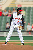 Kannapolis Intimidators starting pitcher Robinson Leyer (20) looks to his catcher for the sign against the Hickory Crawdads at CMC-Northeast Stadium on May 18, 2014 in Kannapolis, North Carolina.  The Intimidators defeated the Crawdads 6-5 in 10 innings.  (Brian Westerholt/Four Seam Images)