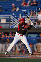 Batavia Muckdogs outfielder Travis Brewster (41) at bat aduring a game against the State College Spikes August 22, 2015 at Dwyer Stadium in Batavia, New York.  State College defeated Batavia 5-3.  (Mike Janes/Four Seam Images)