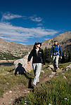 couple, (MR), hiking, hikers, mountains, subalpine, forest, high country, morning, landscape, nature, summer, Lawn Lake, Rocky Mountain National Park, Colorado, USA