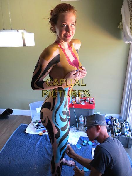 LOS ANGELES, CA - APRIL 2: Maitland Ward painted head to toe as a 'Living Art Exhibit' at a private studio in Los Angeles, California on April 2, 2015 <br /> CAP/MPI/DC/DE<br /> &copy;DE/DC/MPI/Capital Pictures