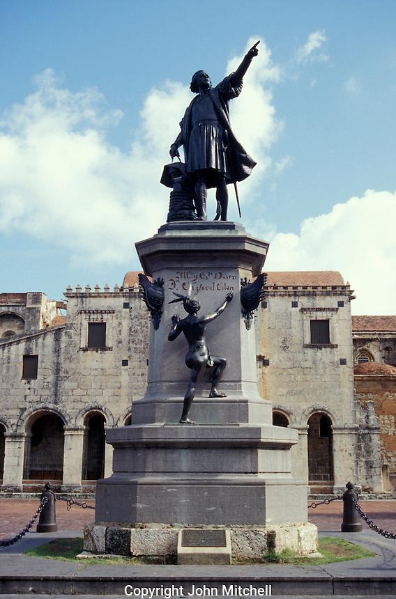 Statue of Christopher Columbus in the Parque Colon, Santo Domingo, Dominican Republic. Santo Domingo's Zona Colonial was declared a UNESCO World heritage Site in 1990.