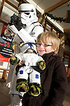 Pix: Shaun Flannery/shaunflanneryphotography.com...COPYRIGHT PICTURE>>SHAUN FLANNERY>01302-570814>>07778315553>>..20th December 2009..............Lakeside Village, Doncaster - Star Wars event..Tom Newell (4) of Scawsby with Storm Trooper.