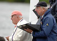 Henley, Great Britain. Race officials, at henley Royal Regatta, left David CHIPP and Angus Robertson, at the start,  Henley royal Regatta,  Henley Reach, England 05/07/2007  [Mandatory credit Peter Spurrier/ Intersport Images]. Rowing Courses, Henley Reach, Henley, ENGLAND . HRR. ...........Rowing Courses, Henley Reach, Henley, ENGLAND. HRR