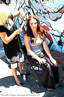 AJ Alexander - Assistant Hair and Makeup Cindy Reyna working on Jamie Jurju on the set of Mind Over Matter on Friday May 13, 2011.   Make Up Artist Jessica Fierro .Photo by AJ Alexander