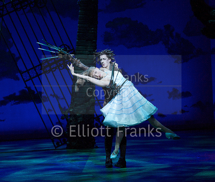 New Adventures, Martin McCallum &amp; Marc Platt present Matthew Bourne's <br /> Edward Scissorhands <br /> at Sadler's Wells, London, Great Britain <br /> press photocall <br /> 4th December 2014 <br /> <br /> <br /> Dominic North as Edward Scissorhands <br /> <br /> Ashley Shaw as Kim Boggs <br /> <br /> <br /> Photograph by Elliott Franks <br /> Image licensed to Elliott Franks Photography Services