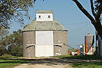 Masonry round barn at a farm in Iowa.